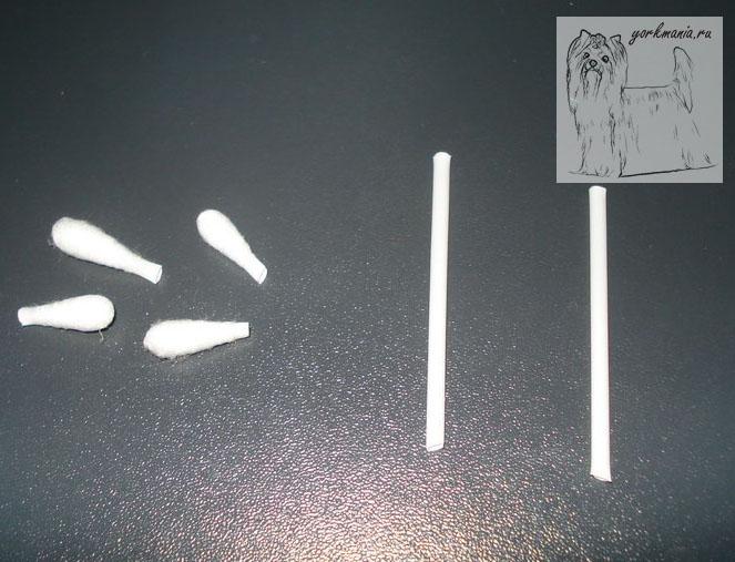 Ножницами обрезаем вату с двух концов